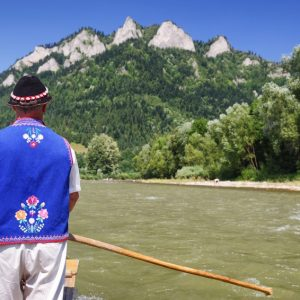 Rafting on river Dunajec st Pieniny mountains at Slovakia